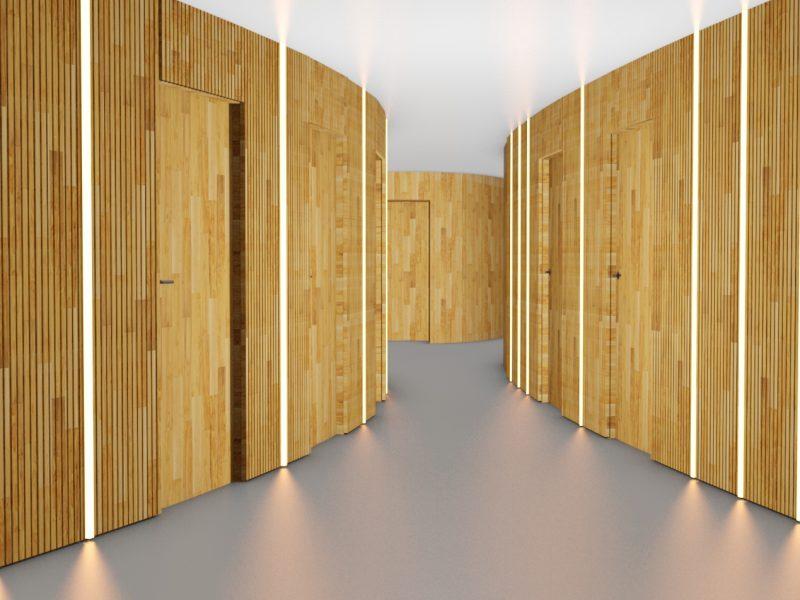couloir late en bois